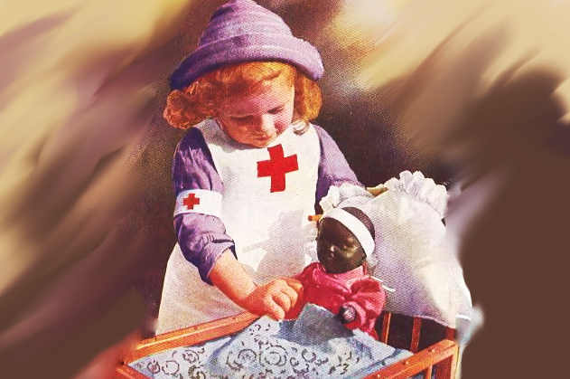 little girl in nurses uniform and doll in bed as caregiver