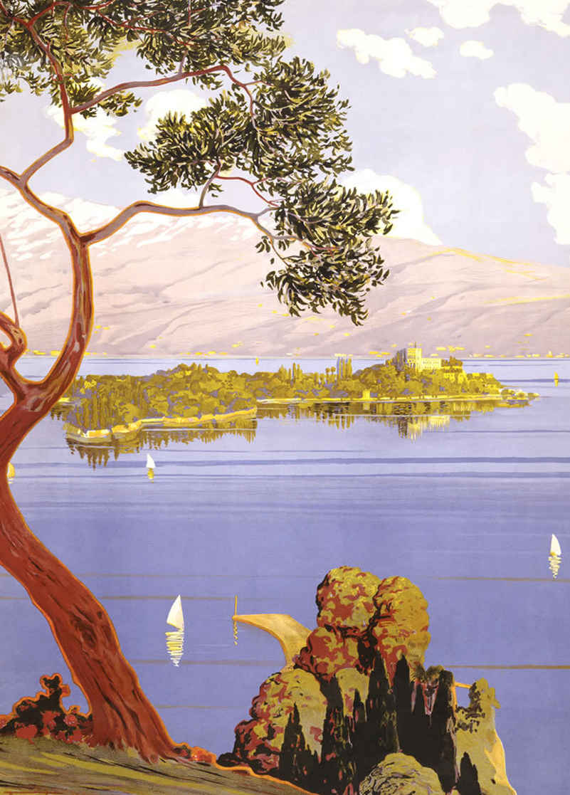 overview of swiss lake with island and boats